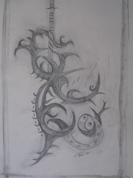 Bleistiftzeichnung, Zeichnung, Zeichnungen, Tribal,