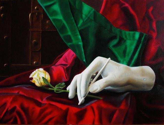 Stillleben, Faltenwurf, Rot, Grün, Hand, Malerei