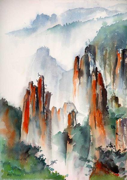 Nebel, Landschaft, Malerei, Wolken, Felsen, Aquarellmalerei