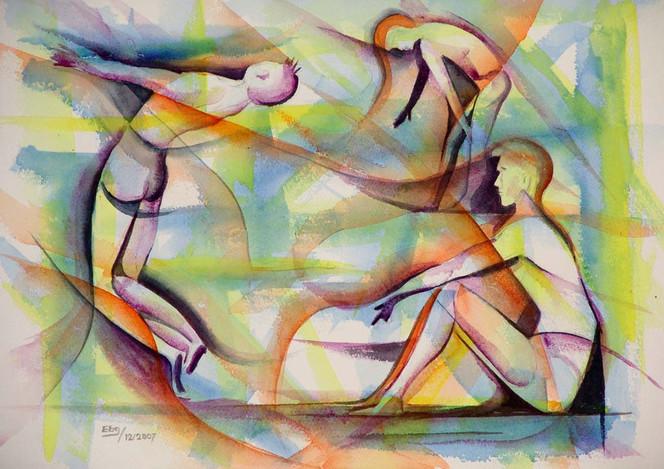 Mann, Lasurtechnik, Menschen, Figur, Aquarellmalerei, Malerei