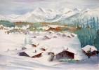 Malerei, Alpen, Dorf, Aquarellmalerei