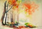 Landschaft, Blätter, Aquarellmalerei, Lichtung