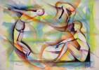 Menschen, Figur, Aquarellmalerei, Mann