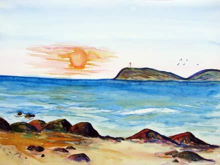 Meer, Malerei, Andalusien, Landschaft, Wolken