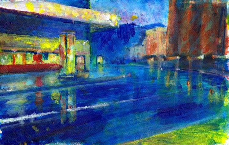 Stadt, Rot, Gelb, Blau, Malerei, Unscharf