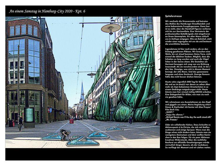 Aliceimwunderland, Jahr2020, Illustration, Leereinnenstadt, Illustratorshamburg, Lockdown