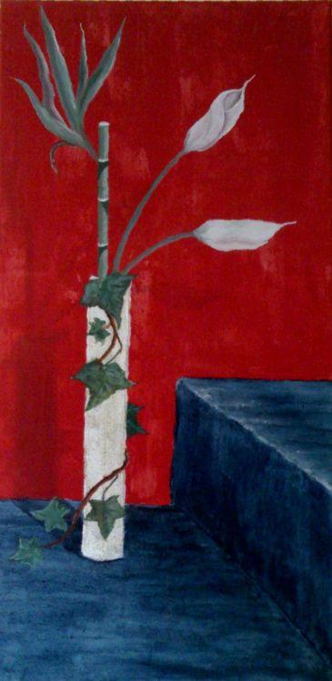 O T Stillleben Rot Bambus Blau Von Sunita B On Kunstnet