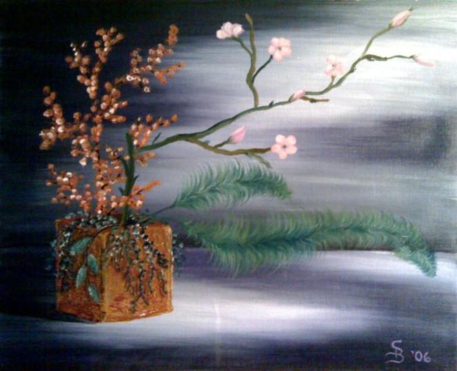 Kirschblüte, Stillleben, Ikebana, Malerei