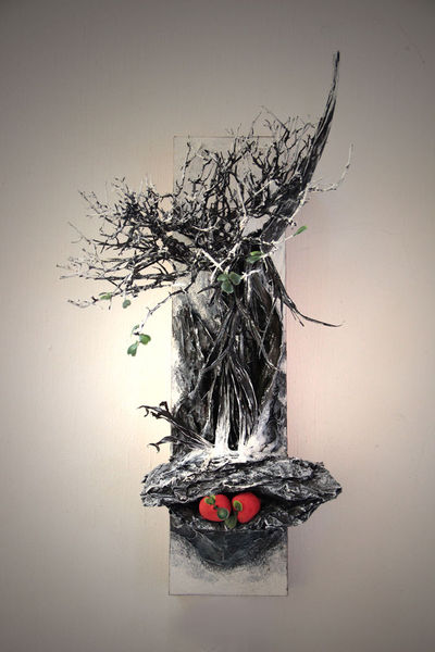 Baum, Rot, Winter, Früchte, Weiß, Plastik