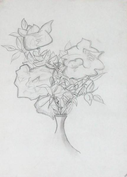 Zeichnung, Stillleben, Vase, Rose, Zeichnungen