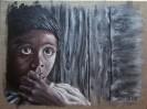Kind, Acrylmalerei, Bretterwand, Malerei
