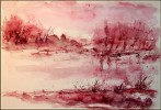 Grafik, Rosa, Ufer, Aquarellmalerei