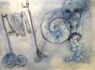 Aquarellmalerei, Schnecke, Wäscheleine, Grafik