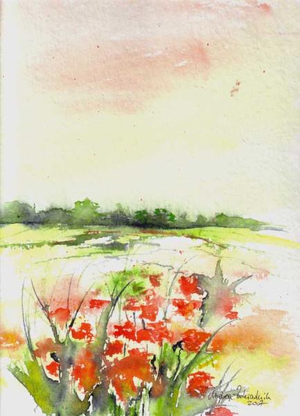 Malerei, Landschaft, Blumenwiese