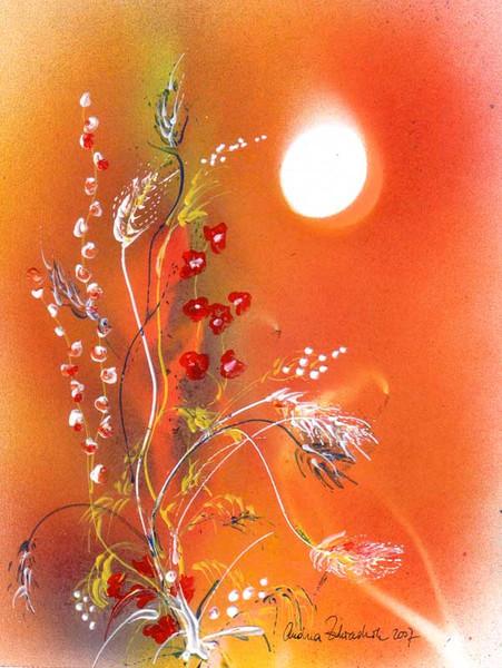 Sprayart, Acrylmalerei, Sonne, Blüte, Orange, Malerei