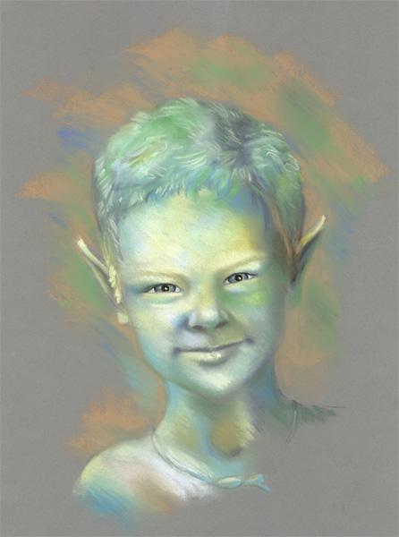 Fantasie, Elfen, Zeichnung, Pastellmalerei, Portrait, Kreide