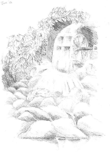 Wasserrad, Bleistiftzeichnung, Skizze, Zeichnung, Zeichnungen