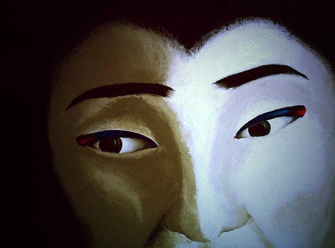 Malerei, Gesicht, Maske, Figural, Unterdrückung, Dienen