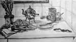 Stillleben, Zeichnung, Zeichnungen, Frühstück