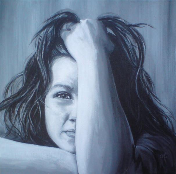 Portrait, Schwarz weiß, Malerei