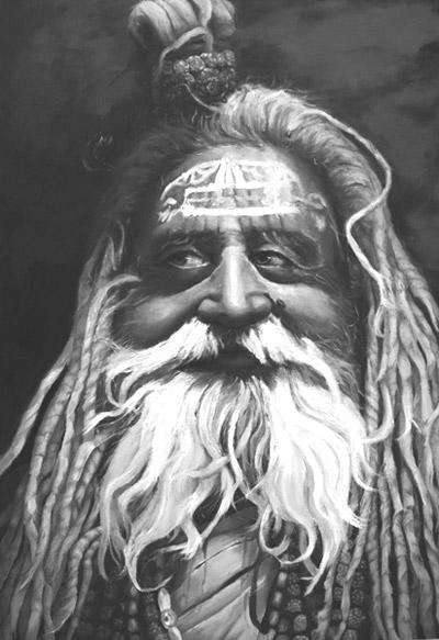 Indien, Mann, Ölmalerei, Religion, Figural, Sadhu