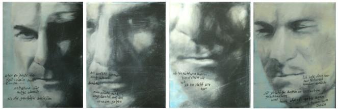 Ups, Malerei, Text, Figural, Schneiden, Burroughs