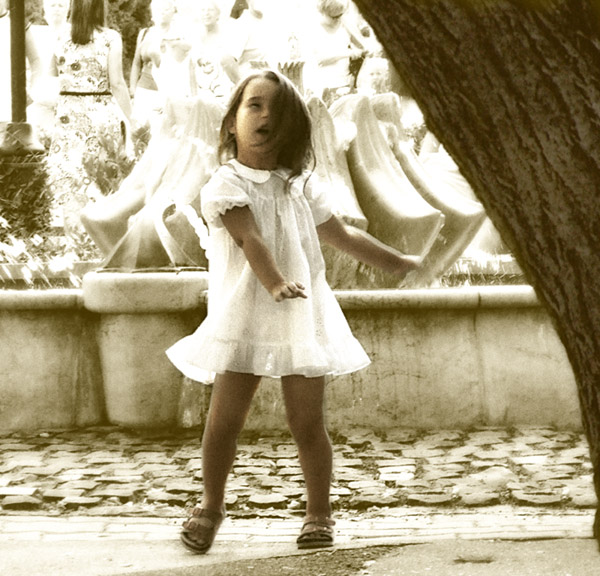 Glücklich, Tanz, Portrait, Fotografie, Mädchen, Digitale kunst