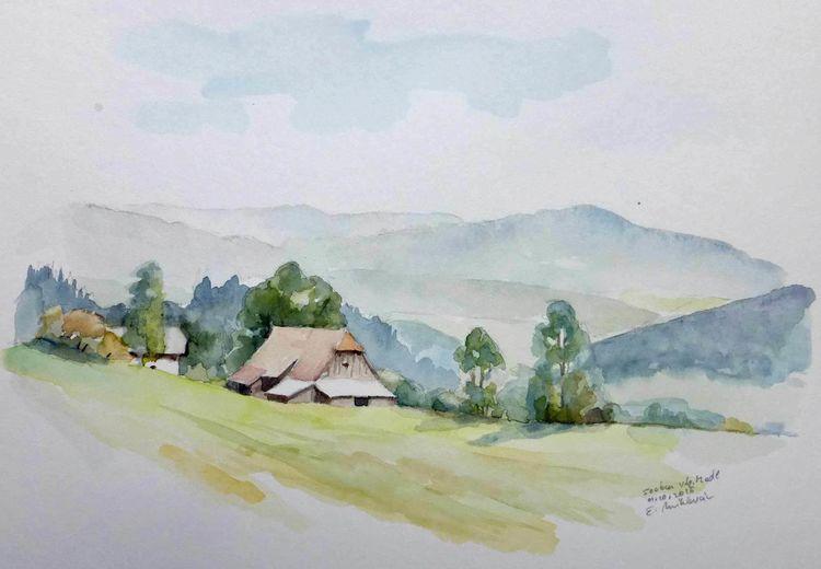 Österreich, Herbst, Aquarell plein air, Steiermark, Bergbauernhof bei seckau, Aquarell