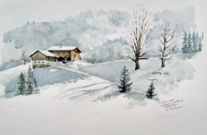 Salzburg, Bauernhof, Schnee, Mühlbach, Winter, Schön