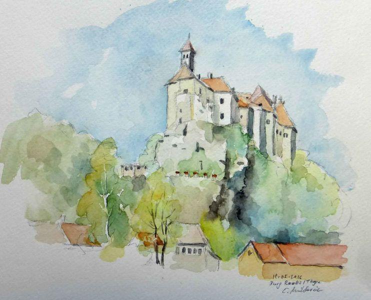 Burg raabs, Niederösterreich, Thayatal, Aquarell, Burg