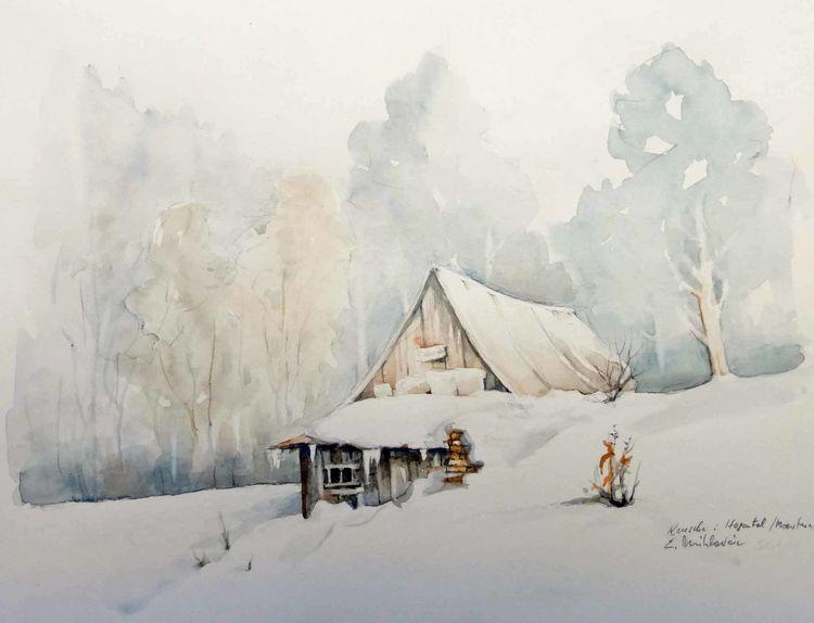 Aquarellmalerei, Winter, Keusche, Frost, Schnee, Aquarell