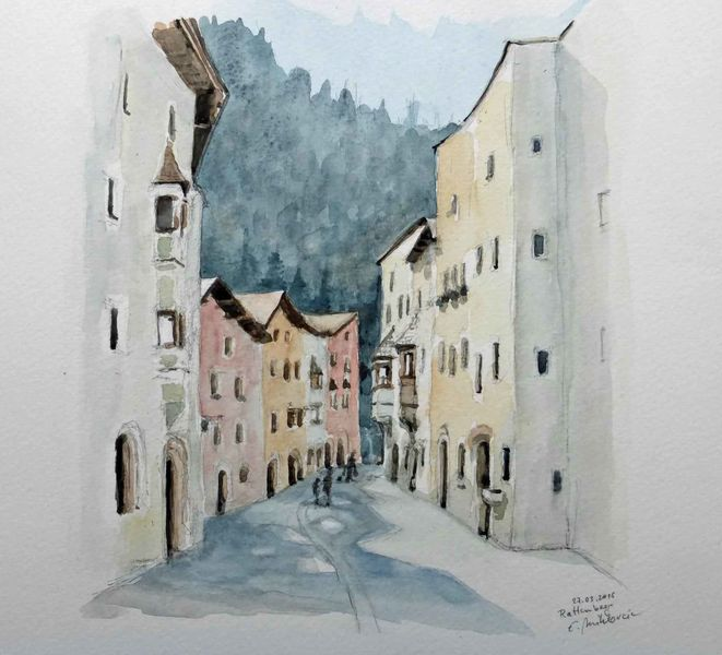 Rattenberg, Tirol, Altstadt, Aquarell