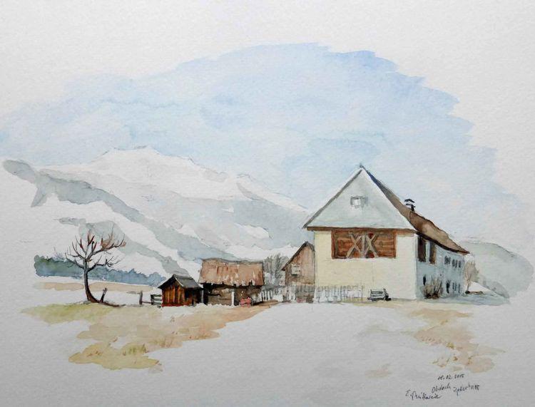 Bauernhof, Aquarellmalerei, Steiermark, Winter, Obdach, Landschaft