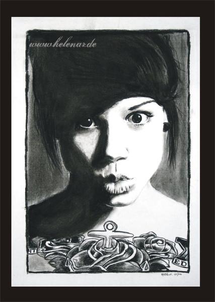 Portrait, Ruschig, Lindseylee, Kohlezeichnung, Zeichnung, Coaldrawing