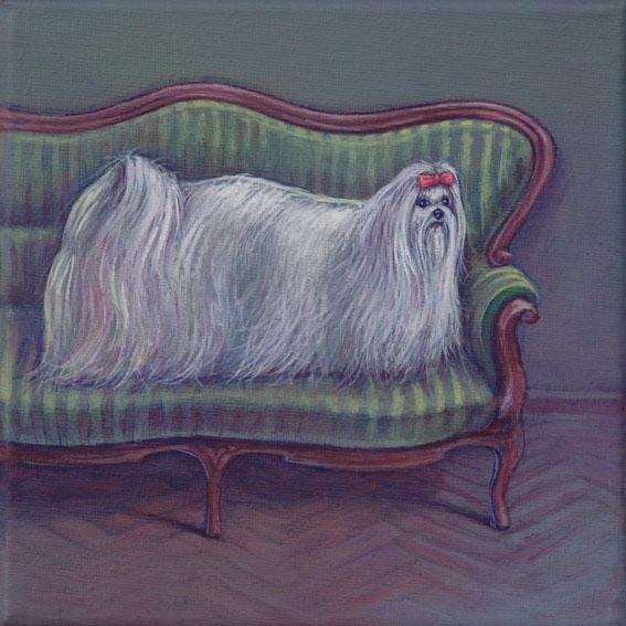 Schreck, Chaisselong, Malerei, Hund, Kitsch, Acrylmalerei