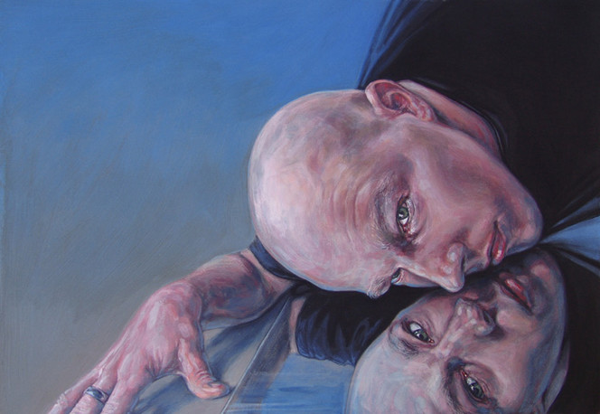 Mann, Selbstportrait, Hand, Malerei, Acrylmalerei, Portrait