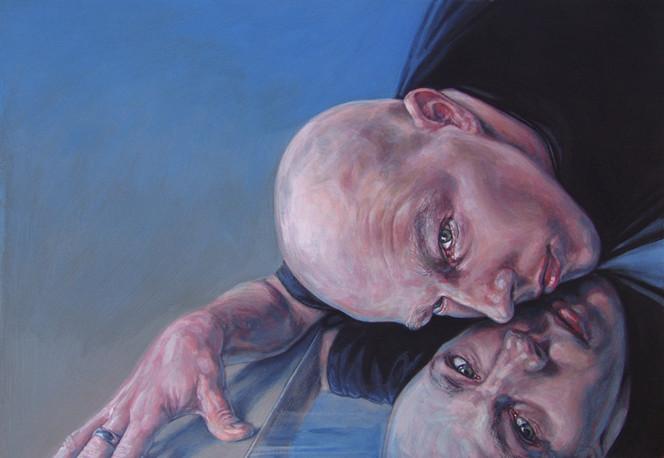 Hand, Malerei, Mann, Selbstportrait, Acrylmalerei, Schreck