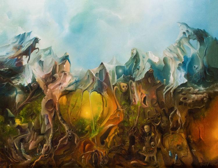 Tiere, Wald, Vogel, Berge, Menschen, Malerei