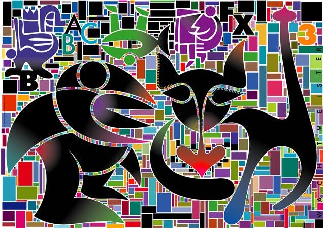 Wesen, Symbolik, Kippe, Farben, Konversation, Mosaik
