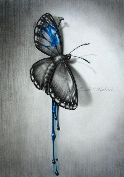 Seele, Zart, Tod, Verletzlich, Grafit, Bleistiftzeichnung
