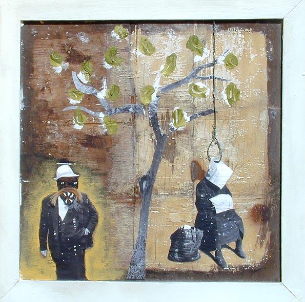 Acrylmalerei, Collage, Tuschmalerei, Draht, Haare, Malerei