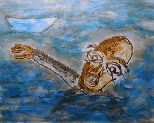 Hilfe, Figural, Malerei, Meer, Ertrinken, Boot