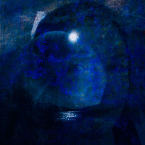 Himmel, Spiegelung, Mond, Gesicht, Apfel, See