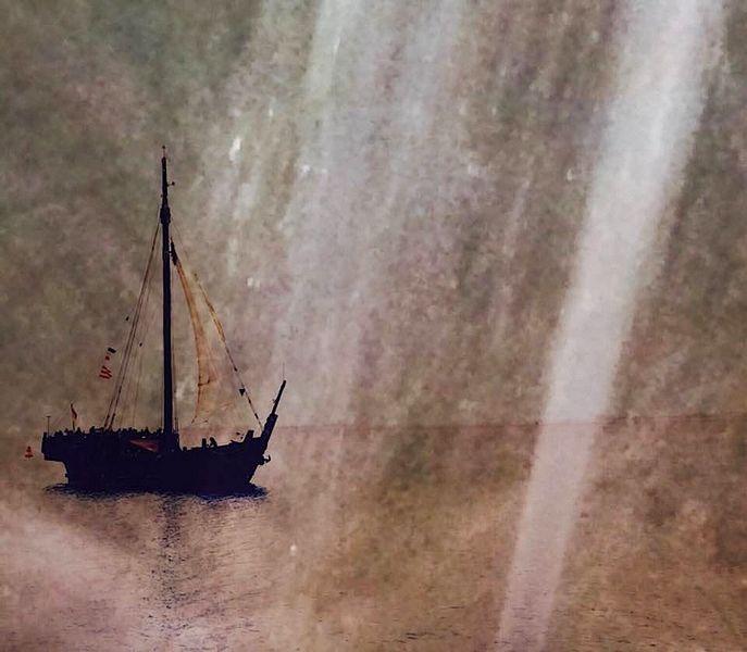 Wasser, Segelschiff, Wasserstrahlen, Digitale kunst