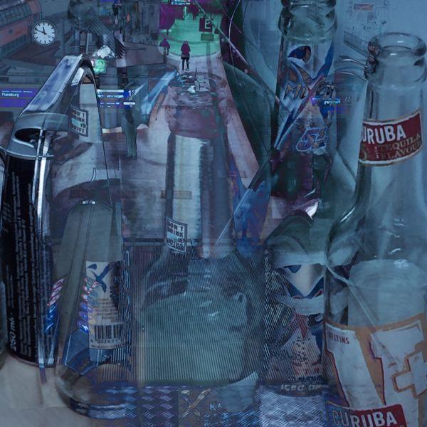 Flasche, Uhr, Bahnhof, Digitale kunst