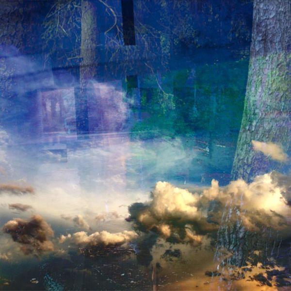 Wolken, Baum, Ruine, Wasser, Mischtechnik, Verborgen