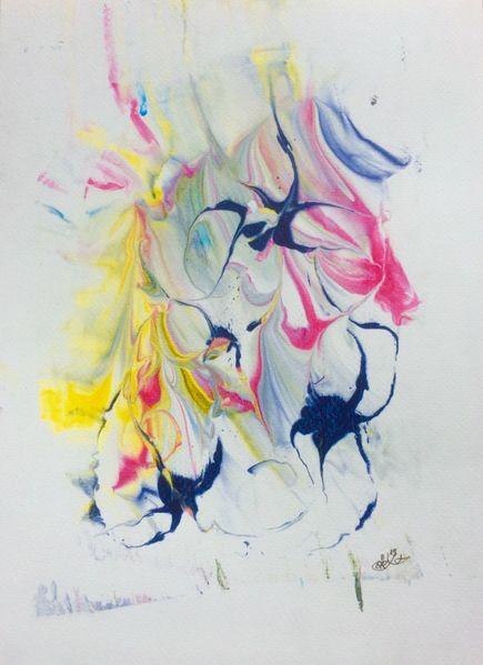 Blüte, Farben, Gesicht, Mischtechnik, Experimentell