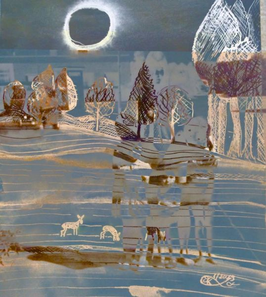 Mond, Winterlandschaft, Baum, Menschen, Reh, Mischtechnik