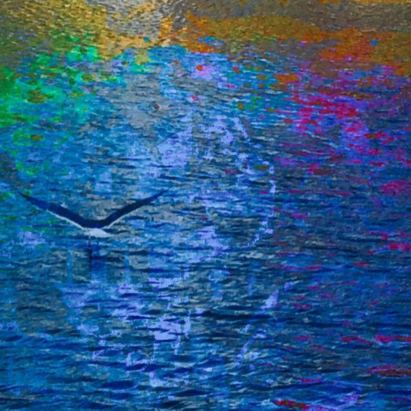 Dienachtbeginnt, Regenbogenwasser, Möweverlässtdenhimmel, Mischtechnik