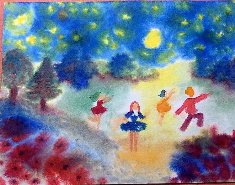 Stern, Blumen, Kinder, Mond, Nacht, Aquarell